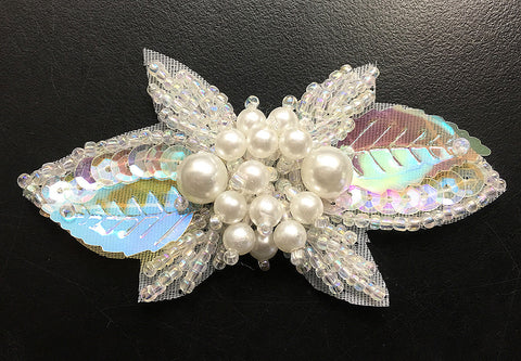"Designer Leaf with Iridescent Sequins, Beads and Center White Pearl Cluster 1.5"" x 3"""