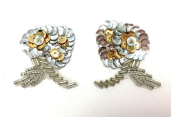 "Flower Pair with Gold or Black and Silver Sequins and Beads 2"" x 1.5"""