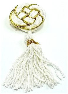 "Tassel White and Gold 1.5"" X 3.5"""