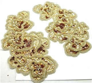 "Flower Pair with Gold Sequins and Silver Beads 5.5"" x 10"""
