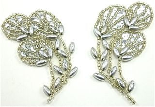 "Flower Pair with Silver Beads 1.5"" x 3"""