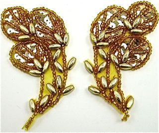 "Flower Pair with Gold Beads 1.5"" x 3"""