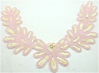 "Flower Neck Line with Cream Sequins and Pink Beads 10"" x 7"""