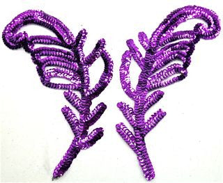 "Design Motif Leaf Pair with Purple Sequins and Beads 9"" x 3"""
