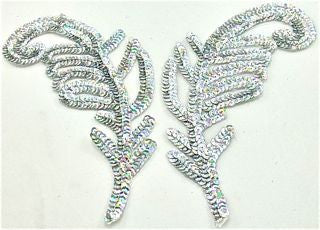 "Design Motif Leaf Pair with Silver Spotlite Sequins 9"" x 3"""