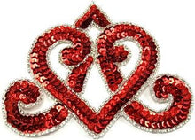 "Load image into Gallery viewer, Designer Motif Wide Crown with Red Sequins and Silver Beads 5"" x 4"""