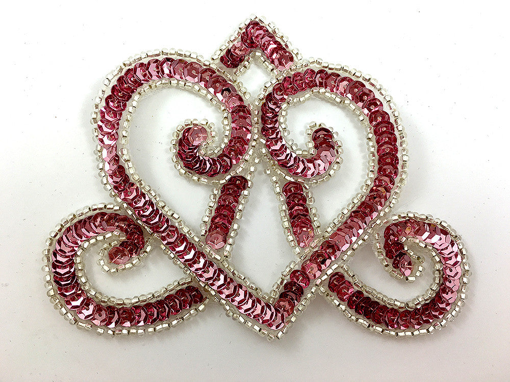"Designer Motif Crown with Pink Sequins and Silver Beads 5"" x 4"""