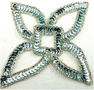 "Designer Motif Four Points with Ice Blue Sequins 4"" x 4"""