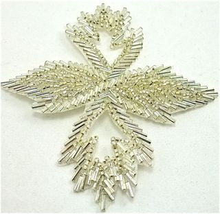 "Leaf with Silver Beads 4"" x 3.5"""