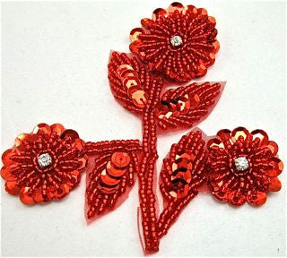 "Flower with Red Sequins and Beads 4"" x 3.5"""