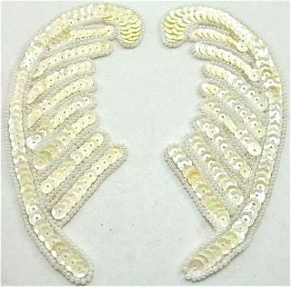 "Leaf  Pair with White and Cream Sequins 6"" x 2"""