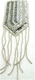 "Epaulet with Sliver Sequins and Beads 7.5"" x 2.5"""