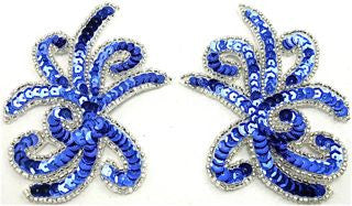 "Designer Motif Spray Pair with Royal Blue Sequins 3"" x 3.5"""