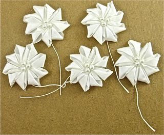 "Flower Set White Satin B Style with Pearls 1.5"" x 3"""