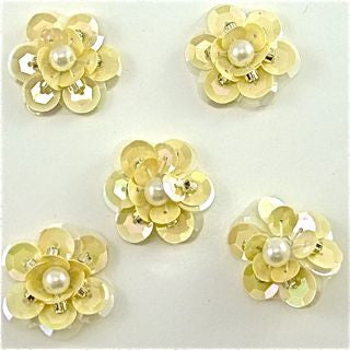 "Flower Set of  Cream Color Sequins with Pearl 1"" x 1"""