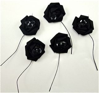 "Flower Black Set of 5 A Style 1"" x 3"""