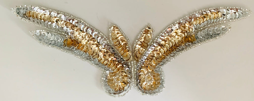 "Designer Motif Wing with Black and Gold Sequins 9"" x 3"""