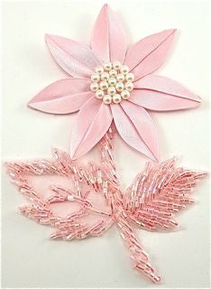 "Flower Pink Satin with Pearls and Beads 3"" x 5"""