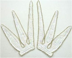 "Design Motif Pair with Iridescent White Sequins and Silver Beads 5"" x 7"""