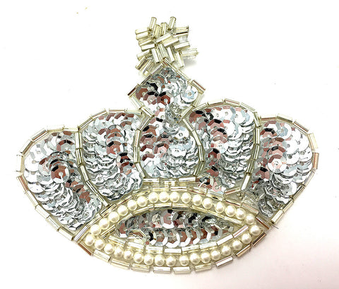 "Crown with Silver Sequins and Beads 3.5"" x 3"""