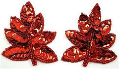 "Leaf Pair with Red Sequins and Beads 2"" x 2.5"""