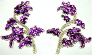 "Flower Pair with Purple Sequins Silver Beads 5"" x 3.5"""