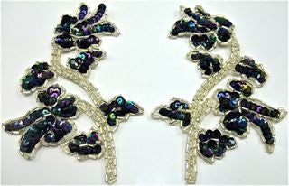 "Flower Pair with Moonlite Sequins and Silver Beads 5"" x 3.5"""