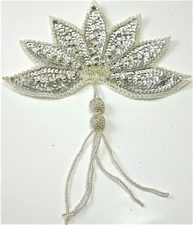 "Epaulet Leaf with Silver Sequins with Tassel 8"" x 6.5"""