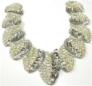 "Designer Neck Line Silver Sequins and Beads 7.5"" x 7"""