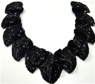 "Designer Neck Line Black Sequins and Beads 7.5"" x 7"""
