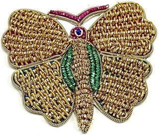 "Butterfly made with Bullion thread Two Colors Some Green Some Purple  2.5"" x 3.75"""