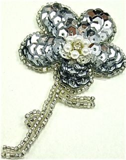 "Flower with Silver Sequins and Rhinestone 3"" x 2"""