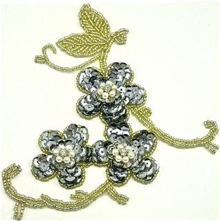 "Flower with Silver Sequins and Beads 5.5"""" x 6"""