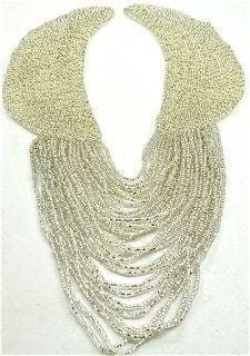 "Epaulet Collar with Silver Beads 11"" x 8"""