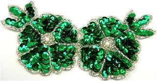 "Flower with Emerald Green Sequins and Silver Beads 6"" x 3"""