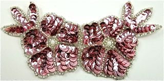 "Flower with Pink Sequins and Silver Beads 6"" x 3"""