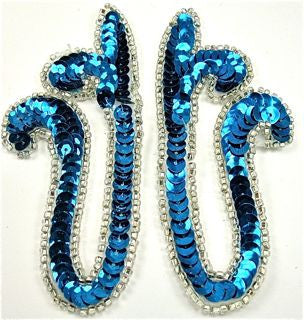 "Design Motif Pair with Turquoise Sequins and Silver Beads 2"" x 4"""