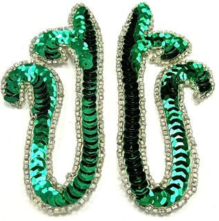"Designer Motif with Emerald Green Sequins and Beads 2"" x 4"""