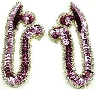 "Designer Motif Pair with Pink Sequins and Beads 2"" x 4"""