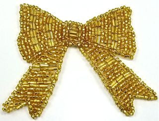 "Bow Gold Beaded 3"" x 2.5"""