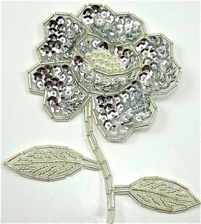 "Flower Silver Sequins and Beads 4"" x 3"""
