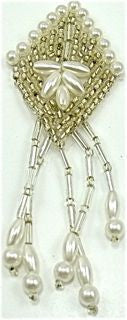 "Epaulet Diamond Shaped with Silver and White Beads  2"" x 3"""