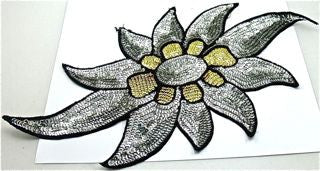 "Flower with Silver Sequins and Black Beads 15"" x 7.5"""