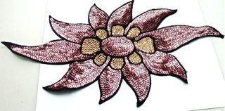 "Flower with Pink Sequins and Black Beads 15"" x 7.5"""