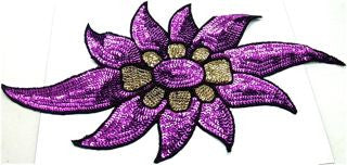 "Flower with Purple Sequins and Black Beads 15"" x 7.5"""