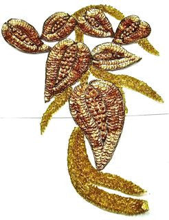 "Design Motif with Gold Sequins and Beads 14.5"" x 9"""