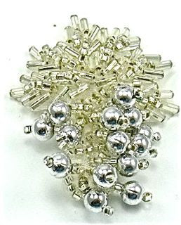"Design Motif Leaf Cluster with Silver Beads 2"" x 1.5"""