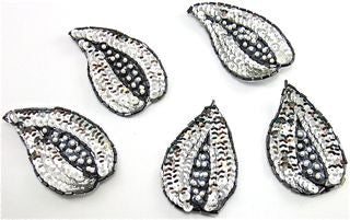 "Leaf Set of  Silver Sequins 3"" x 2"""