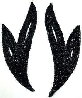 "Leaf Pair with Black Beads 9"" x 4"""