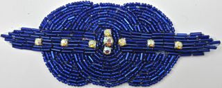 "Designer Motif Triple Circle with Royal Blue Beads and Rhinestones 4"" x 2.25"""
